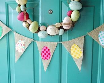Polka Dot Easter Egg Burlap Banner Garland