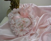 Reserved for Linda Only Rag Quilt Fabric Heart Handmade  from Mary Rose Fabric in Pink Wallpaper Stripe Pattern with white hobnail chenille