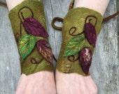Woodland Cuffs-fingerless gloves- Folkowl Cuffs - leaf cuffs -  Forest Cuffs  - felted cuffs-gauntlets-elven-bracers- fairy costume