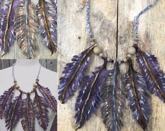 Feather statement necklace- boho necklace-feather necklace-shamen necklace-tribal necklace- felted necklace-festival- mystical