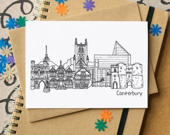 Canterbury Landmarks Greetings Card - Canterbury Skyline Art - blank Canterbury card - card for Canterbury - Kent greetings card