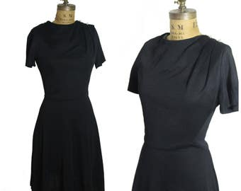 1960s Black Dress with Crystal Beads