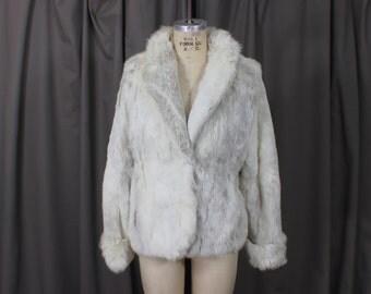 Vintage White Fur COAT / 1970's Rabbit Fur Jacket / Soft