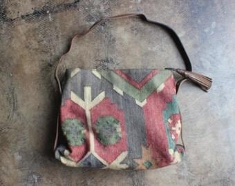 Kilim PURSE / Vintage Leather Tapestry Two Handle Handbag / Southwestern Leather Tassel Bag