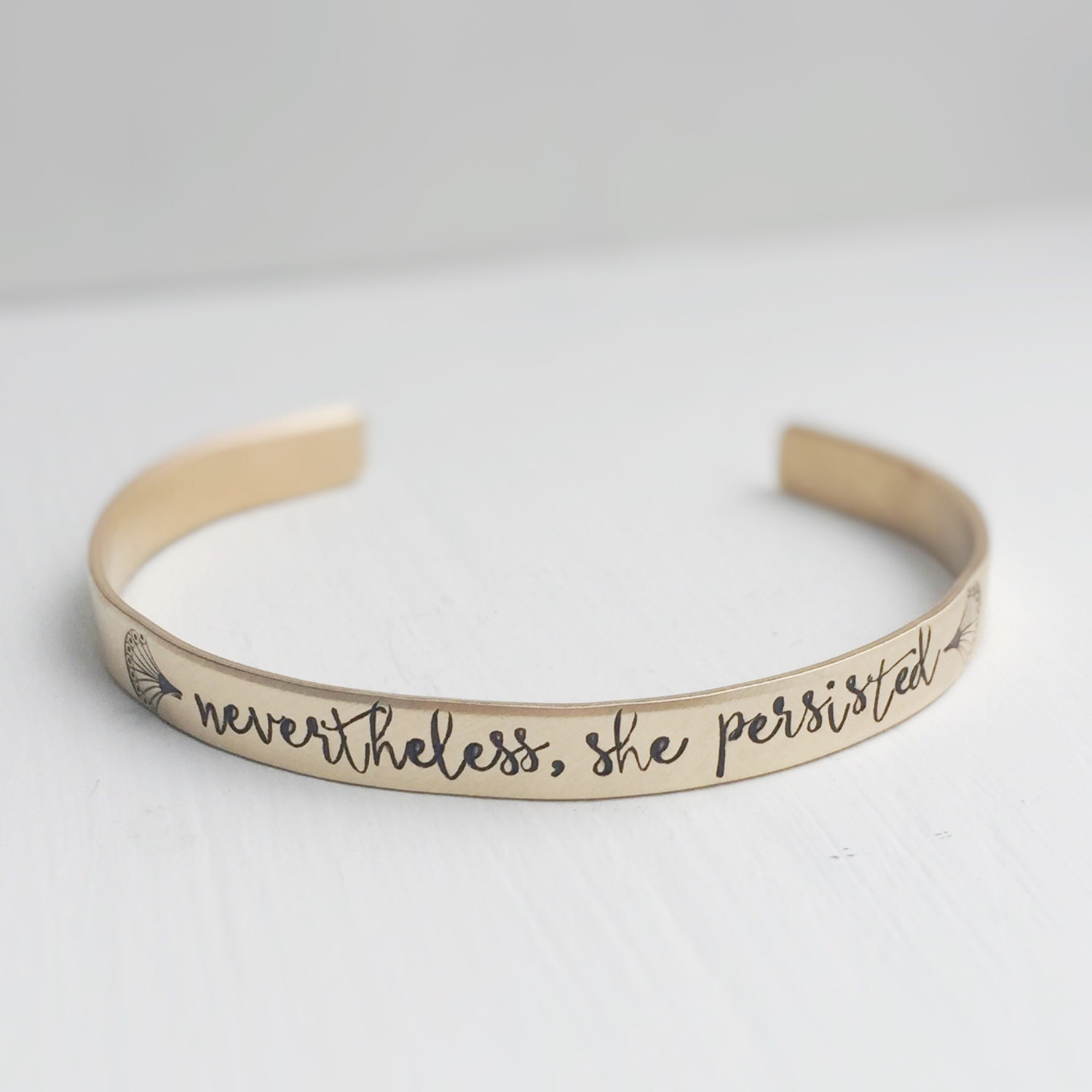 nevertheless she persisted cuff bracelet gold brass elizabeth. Black Bedroom Furniture Sets. Home Design Ideas