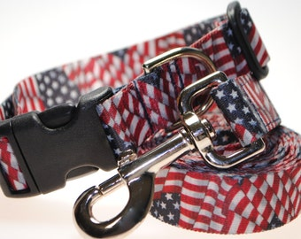"""US Flags Collar and Leash Combination - 1"""" Width"""