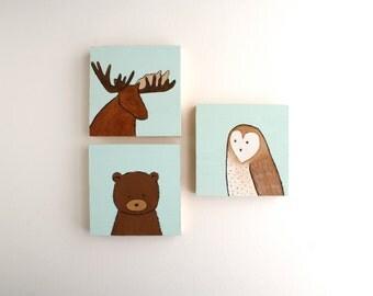 Woodland Nursery Art - Owl Moose and Bear Acrylic Paintings - Set of Three