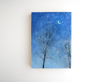 Night Sky Mixed Media Painting - 5 x 7