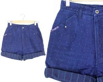 "Vintage Retro Dark Blue Denim Jean ""Blaze"" High Waisted Shorts Size 3"