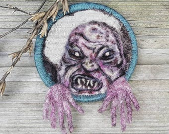 Monster art, evil ghoul, horror room decor, felt wall art, needle felted, creepy macabre picture, original small wool painting