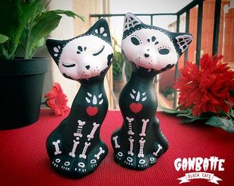 Couple Black Cats Figurine Skull Cat Sculpture Handmade Unique Day of the Dead Halloween Cat Halloween sale