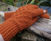 Half Finger Fingerless Mittens Gloves Rust Autumnal Merino Wool