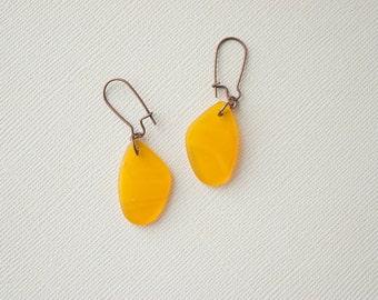 Yellow Earrings, Sea Glass Earrings, Beach Earrings, Saffron Earrings, Sea Glass Jewelry, Copper Earrings, Beach Jewelry, Trending