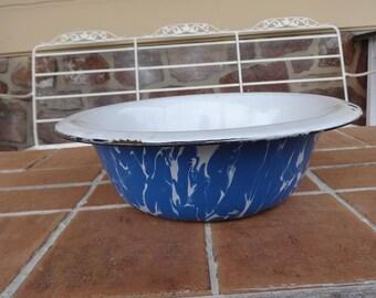vintage enamelware graniteware bowl primitive cookware collectible blue white Large primitive Bird Bath GARDEN