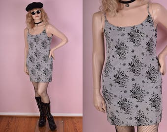 90s Black and Grey Floral Print Mini Dress/ Large/ 1990s