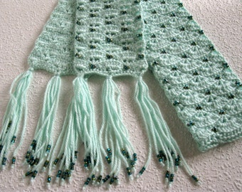 Beaded crochet scarf. Light mint green, fan stitch scarf with gold and blue beads. Fiber art scarves