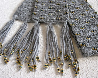 Grey beaded scarf.  Gray crochet scarf with gold and multicolored beads.