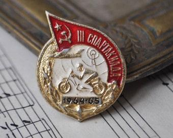 "Vintage Soviet Russian badge,pin.""Spartakiad 1964-65"""