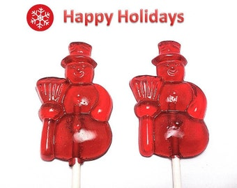 12 SNOWMAN HOLIDAY Lollipops - Stocking Stuffers, Holiday Favors