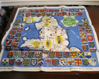 """Linen hand towel with an """"historical map"""" of England and Wales"""