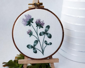 Thistle Botanical Embroidery Hoop Art Wall Hanging Floral Decor