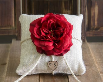 Burlap ring bearer pillow decorated with a red sophia rose personalized with bride and groom initials other flowers to select from
