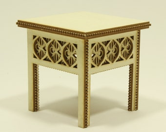 Regal, royal magestic,  dolls house, miniature small table, KIT, one twelfth scale, 1:12 scale, 80mm x 80mm top (un painted)