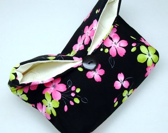 Foldover clutch, Fold over bag, clutch purse, evening clutch, wedding purse, bridesmaid gifts - Green and pink flowers (Ref. FC25 )