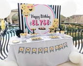 Emoji Party Backdrop, Emoji party theme, Emoji Party Printables, Emoji Printables, Digital Emoji Invitation