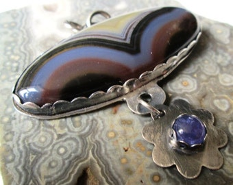 Agua Nueva Agate and Tanzanite Flower Pendant in Sterling Silver Necklace Jewelry
