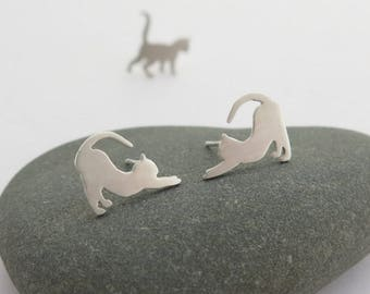 Cat Earrings - Cat Lover Gift - Sterling Silver Stud Earrings