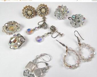Spring Cleaning SALE Vintage 6 Pair Earrings Lot Dangle Screw Back AB Crystal Stones Rhinestones Vtg