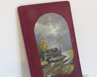 Antique Photo Album Scrapbook Memory Book Hand Painted Photo Organizer Blank Photo Album Picture Album Red