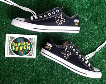 Custom Saints Converse Low Black, FREE SHIPPING, #neworleans, #saintsnation, #Saints #football, #converse, #converseallstar by Bandana Fever