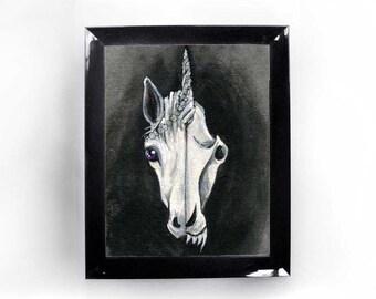 Unicorn Art, Skull Print, White Horse, Gothic Decor, Animal Wall Art, Black & White, Fantasy Artwork, Taxidermy Gift, Custom Size