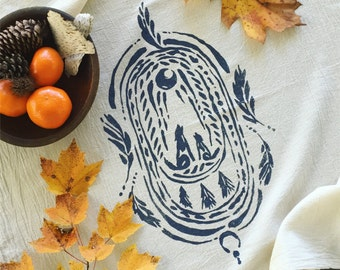 Wild Altar Cotton Towel. Natural Towel. Small Print Tablecloth. Eco Friendly Towel. Nature Lover Gift. Wolf Print. Printed Flour Sack Towel.