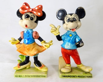 Vintage Mickey & Minnie Mouse Figures, Rubber Figurines Walt Disney Productions Italy Toys Collectibles