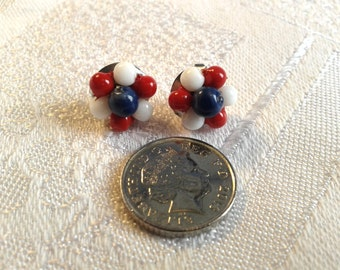 Vintage Red, White and Blue Patriotic Earrings. WWII, American, British.