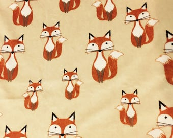 Minky Blanket Fox Print Minky with Hunter Green Dimple Dot Minky Backing - Perfect Size a Toddler or Child 36 x 42
