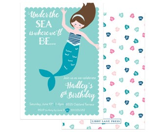 Mermaid Party Invitation (Mermaid Party, Under the Sea, Pool Party, Pirates and Mermaids, Summer Party Invitations, Pink and Aqua)