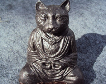 Meditating Cat, Bronze Metal Powder Coated Stone
