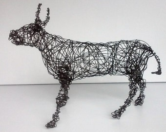 Unique Wire Animal Sculpture - LARGE STEER