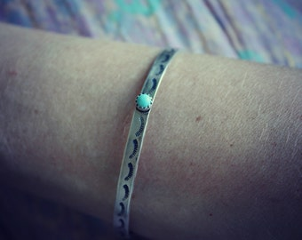 Turquoise bracelet, cuff bracelet, sterling silver bangle bracelet, hand stamped bracelet, cuff bracelets for her, silver bangle