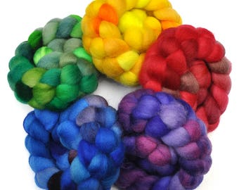Hand Dyed Roving Rainbow 5-Pack - BFL wool spinning fiber - 10 ounces