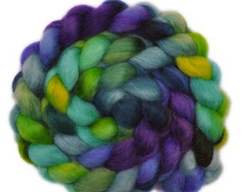 Hand painted spinning fiber - Wensleydale wool combed top roving - 4.1 ounces - Miraculous 3