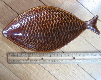 "8"" Stig Lindberg Design 1960s Brown Fish Plate Ceramic Tray Gustavsberg Sweden"