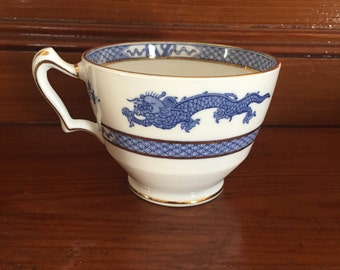 Vintage Crown Staffordshire Blue Mandarin DragonTeacup