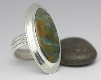 Rocky Butte Jasper Ring, Jasper and Sterling, Statement Ring, Unisex, Size 6.5