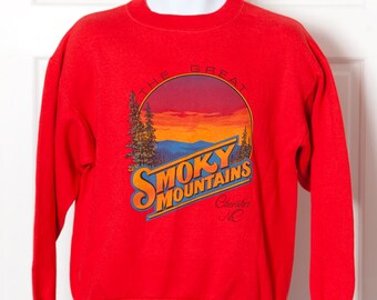 Vintage 80s Sweatshirt - The Great SMOKY MOUNTAINS - Cherokee NC