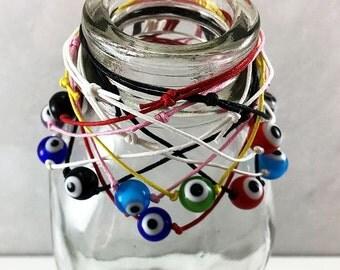 Unisex Wax Cotton Cord Evil Eye Bracelet Adjustable Bracelet Good Luck Friendship Bracelet Yoga Jewelry Boho String Bracelet Gypsy Bracelet